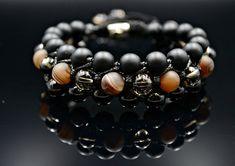 Men's 3 Raw Bracelet Agate Bead Bracelet Black Onyx Bracelet Layered Bracelet Gemstone Bracelet Shamballa Macrame Bracelet Gift for Men/Him