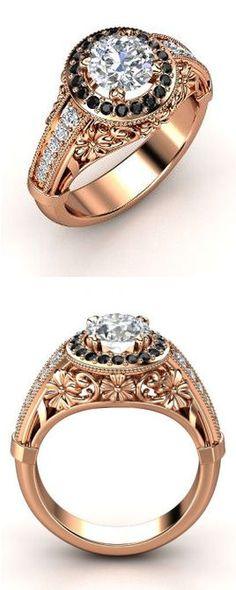 14K Rose Gold Black & White Diamond Ring ♥