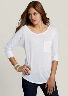 Three Quarter Sleeve One Pocket Dolman - 3-for Drapey Tees and Tanks - What's New - Alloy Apparel