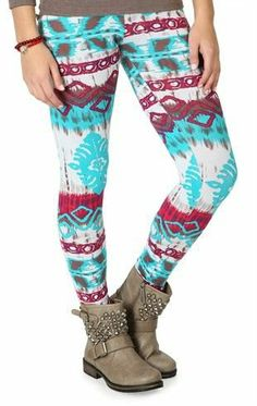 Teal and Wine Aztec Tribal Print Legging