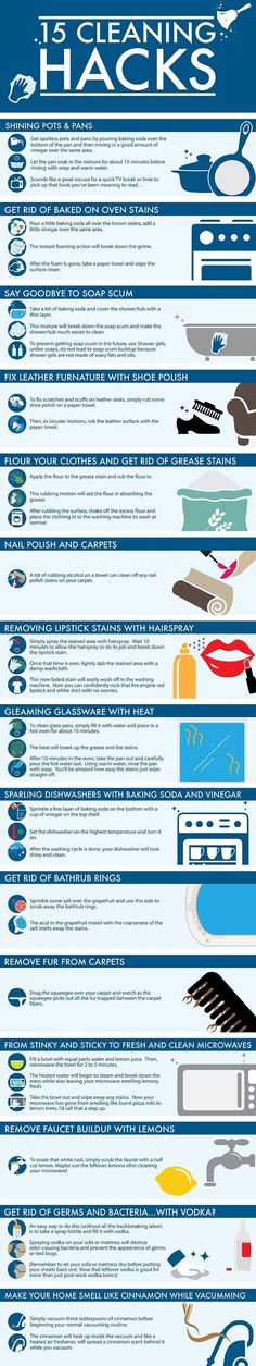 Today's graphic is will teach you some very practical ways to clean different areas of your home. .