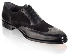 Handmade Men black wingtip suede and leather formal shoes 5456f05ccda2