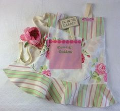 Domestic Goddess embroidered rose print Frilly by mrsmaddenmakes, £25.00 on Etsy