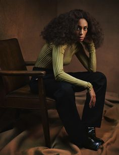 Solange in a Bottega Veneta top & pants by Chloé photographed by Mikael Jansson for Interview magazine, February 2017.