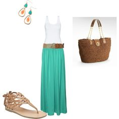 Love the neutral accessories with bold color maxi skirt