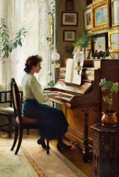 The painter's daughter playing the piano in the family's home at Sofievej in Hellerup (Bruun Rasmussen)