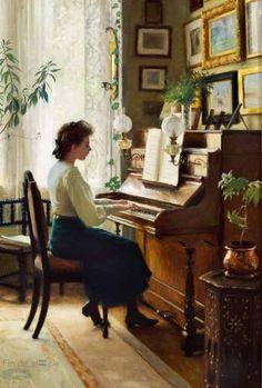Paul Fisher: Maleren Paul Fishers datter spiller klaver i familiens hjem på Sofievej i Hellerup