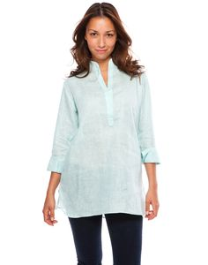 Sky blue linen caftan collar women's shirt from bella tu