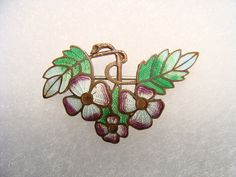 enamel on copper taille basse flower brooch cca 1910-1920