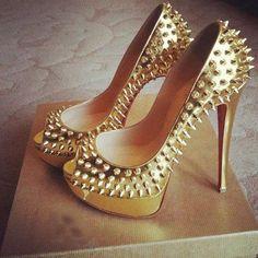 Gold Riveted Peep Toe Pumps