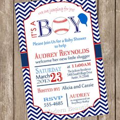 Chevron it's a boy baseball baby shower by ModernBeautiful on Etsy.. joe would love this one :)