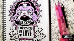 Gothic Girl ♥ Forever in Love ♥ Hello Doodles ♥ Easy Drawings by Garbi KW