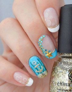 Love these beach themed nails - Beach Nails Anchor Nail Designs, Anchor Nail Art, Nail Art Designs 2016, Simple Nail Art Designs, Cute Nail Designs, Easy Nail Art, Awesome Designs, Beach Themed Nails, French Nails