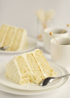 Whiteout Vanilla Cake using a combo of cake flour and all purpose. delicious.