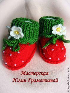 """Пинетки """"Клубнички"""" - ярко-красный,в полоску,пинетки,пинетки для новорожденных"""