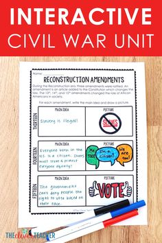 This 3 week Civil War history unit is packed full of fun interactive lesson and activities! These lessons and projects are especially great for kids in grade, grade, grade, and grade. Save yourself a ton of prep time and check it out today! American Revolutionary War, American Civil War, Captain American, Early American, Middle School Us History, History Class, Civil War Activities, 7th Grade Social Studies, Teaching Us History