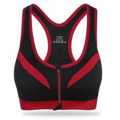 2016 New Women Zipper Sports Bra Push Up Shockproof Top Underwea Running  Gym Fitness Jogging Yoga