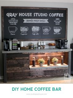 Bring the coffee shop to your home with this DIY Coffee Bar project by Gray House Studio.
