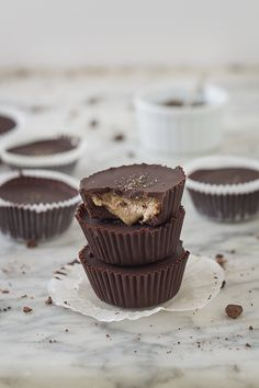 Dark Chocolate Almond Butter Cups with Smoked Sea Salt (Paleo, Refined Sugar free)