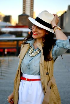 Love the hat and necklace... ok and the red belt with white skirt.