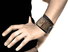 Leather Cuff Wrap, Tree Silhouette Print in Brown & Olive Taupe, Adjustable Size - SALE - see Shop for Coupon Codes.... $27.50, via Etsy.