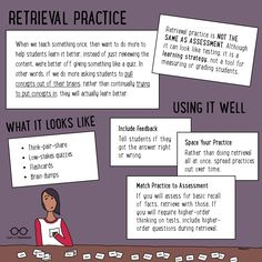 Nothing cements long-term learning as powerfully as retrieval practice. Learn how to incorporate it into your classroom. Instructional Coaching, Instructional Strategies, Teaching Strategies, Teaching Resources, Teaching Ideas, Teaching Biology, Creative Teaching, Cooperative Learning, Student Learning
