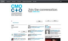 "ibm: IBM created a microsite they are calling the ""CMO and CIO Leadership Exchange."" Aggregating and incorporating content from blogs, Twitter and YouTube, IBM is using hashtags and social media to help spur and contribute to conversation directly from their own site."