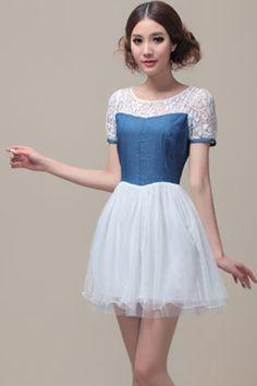 Dual-Tone Layered Denim Blue Dress #ROMWEROCOCO