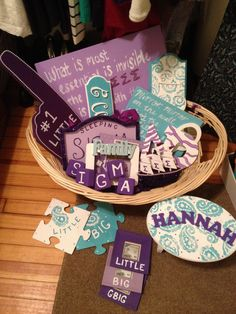 Cute ideas for DIY Lil' Sis gifts! Cute bag. Shirts water bottle towel candy camera markers notebook