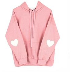 Cute Kawaii Styles Pink Pastel Heart Elbow Patch Pullover Hoodies Size... ($24) ❤ liked on Polyvore featuring tops, red top, elbow patch top, pastel tops, pink pullover and heart tops