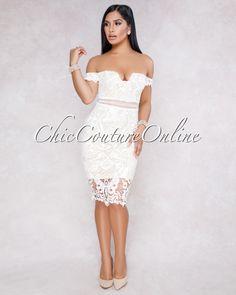 67ec017d3229 Fiyona White Off The Shoulder Crochet Midi Dress