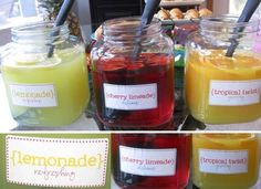The TomKat Studio: Inspired by TomKat Studio: Sarah's Sip & See Baby Shower! Baby Party, Baby Shower Parties, Baby Boy Shower, Baby Showers, Tea Party, Diy Name Tags, Drinking Jars, Colorful Drinks, Sip And See