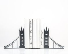 Bookends - London bridge - FREE SHIPPING cool gray metal bookends perfect housewarming present