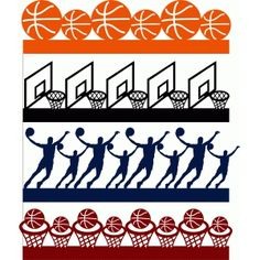 Silhouette Design Store: basketball borders set