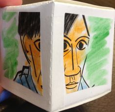 Preschool Art: Inspired by Pablo Picasso, our preschool class studied Cubism: seeing the same picture from many points of view.  Students painted a simple coloring sheet of Picasso's Self Portrait 1907, cut it into 6 pieces and glued it on to card stock folded into a cube shape. The results were a three-dimensional masterpiece!
