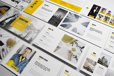 Construction Powerpoint Template come with flat yellow design, clean, minimalist and modern presentation, fit for corporate office such as building construction company, building material Professional Powerpoint Templates, Creative Powerpoint Templates, Business Brochure, Business Card Logo, Corporate Business, Presentation Design Template, Design Templates, Presentation Layout, Design Typography