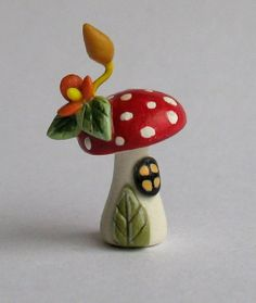 OOAK Miniature Fairy Toadstool House by artist C. Rohal