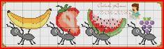 formiga - melancia- cozinha- morango Tiny Cross Stitch, Cross Stitch Fruit, Cross Stitch Kitchen, Cross Stitch Bookmarks, Cross Stitch Borders, Cross Stitch Animals, Cross Stitching, Cross Stitch Embroidery, Cross Stitch Patterns