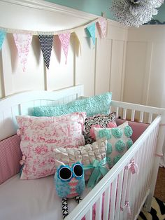 Such a cute baby girl room - love the pink & blue and the pillows. This is soo cute too. The Babys, Cute Baby Girl, Baby Love, Baby Girls, Girl Nursery, Girls Bedroom, Room Girls, Bedrooms, Nursery Inspiration