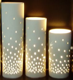 Ceramic cylinder lights adding a little sparkle, hand made to order from £120 www.lunalighting.co.uk