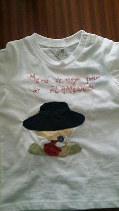 Camiseta para bebé con aplicación cosida a mano con motivo flamenco