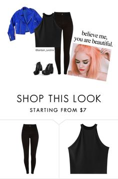 """""""Blue & Black"""" by ayme-vecha ❤ liked on Polyvore featuring Chicnova Fashion, Retrò, outfit and girl"""