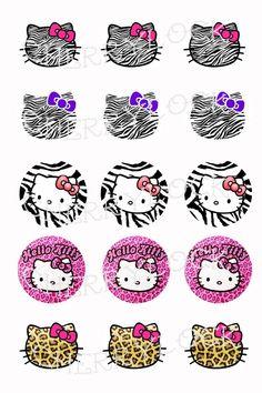 bottle cap animal print   Bottle Cap Image Sheet, Hello Kitty, punk, zebra, animal print ...
