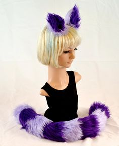 Cat Ear Tail Clip On Faux Fur Set in Lavender and Dark Purple - Morphe