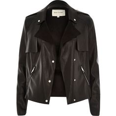 River Island Black leather-look cropped trench jacket found on Polyvore