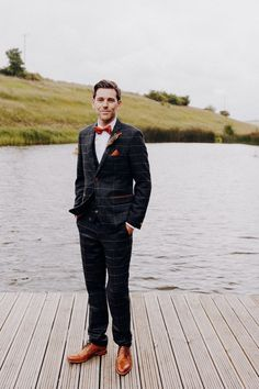 Groom in Blue Check Suit for Farm Wedding | By Benjamin Stuart Photography | Farm Wedding | Tipi Wedding | Outdoor Wedding | Lakeside Wedding | Summer Wedding | Civil Ceremony | Groom Wedding Suit | Tipi Wedding, Lakeside Wedding, Farm Wedding, Summer Wedding, Anna's Bridal, Blue Check Suit, Justin Alexander Bridal, Morning Suits, Groomsmen Suits