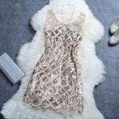 Amazon.com : Stylish Atmosphere Beaded Sequined Dress (Beige) : Clothing
