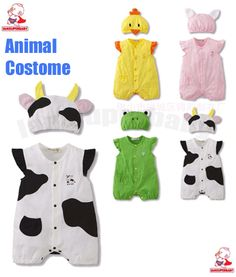 (0-12M) Baby Boy Girl Twins Animal Safari Dress Up Party Costume Body Suit