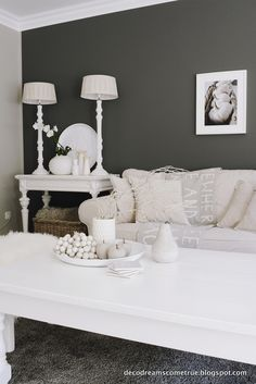Shades of grey Dream Decor, White Decor, Apartment Design, Shades Of Grey, Decoration, The Hamptons, Sweet Home, Shabby Chic, Lounge