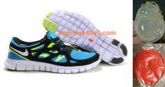 Mens Nike Free Run 2 Blue Glow/White/Black/Volt Shoes        #Volt  #Womens #Sneakers
